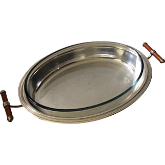 Christofle Talisman Art Deco Silverplate Serving Platter with Laque de Chine Handles and Pyrex Insert, RARE