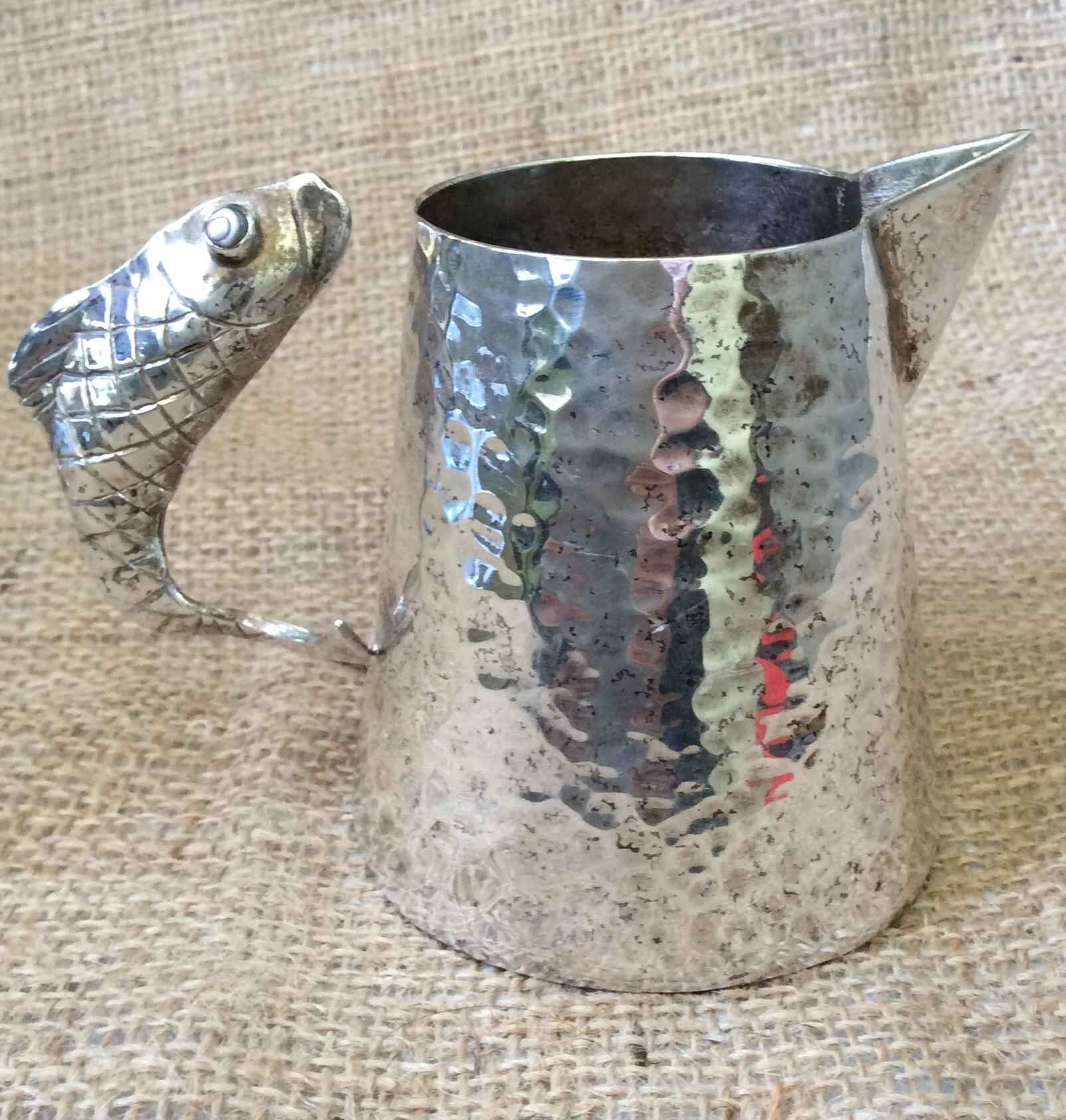 Emilia Castillo Hand Hammered Pitcher With Fish Handle
