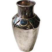 Los Castillo Taxco MidCentury Handwrought Silverplate Vase with Inlaid Lapis and Malachite