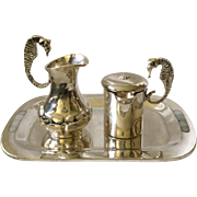 Los Castillo Sugar Creamer Set with Mother of Pearl Inlaid Tray