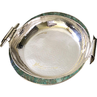 Emilia Castillo Taxco Large Centerpiece Bowl with Inlaid Turquoise and Scrolled Handles