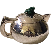 Signed Emilia Castillo Taxco Hammered Silverplate Teapot with Malachite Frog Finial