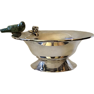 Los Castillo Taxco Silverplate Pedestal Bowl with Carved Malachite Bird, c. 1960