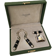 RARE Christofle Laque de Chine Champagne Cork Pull and Stopper Set in Presentation Case