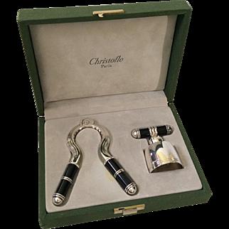 RARE Christofle Laque de Chine Champagne Cork Pull and Stopper Set in Presentation Case