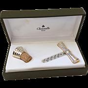 Christofle Art Deco Silverplate Corkscrew and Bottle Stopper Wine Set in Presentation Case