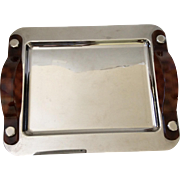 MidCentury Modern Silverplate Tray with Tortoiseshell Lucite Handles