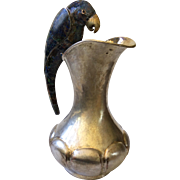 RARE Los Castillo Taxco Large MidCentury Handwrought Silverplate Water Pitcher with Lapis Inlaid Parrot Handle