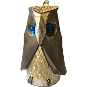 RARE Los Castillo Taxco Modernist Figural Owl Lidded Pitcher with Mother of Pearl Inlay