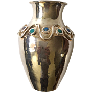 Los Castillo Taxco MidCentury Silver Vase with Inlaid Lapis and Malachite