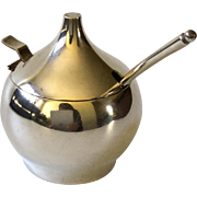 RARE Hans Hansen Denmark Sterling Silver Modernist Condiment or Mustard Pot with Spoon