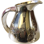 Los Castillo Taxco Handwrought Silver Pitcher or Jug with Inlaid Mother of Pearl