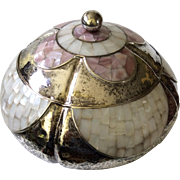 RARE Los Castillo Taxco Large Hand-Hammered Silver Lidded Centerpiece or Serving Bowl with Inlaid Mother of Pearl