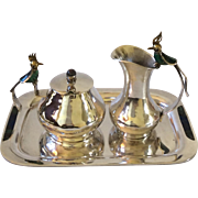 Los Castillo Taxco Handwrought Silverplate Sugar Creamer Set with Inlaid Lapis and Malachite Bird Handles