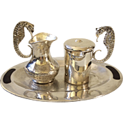 Los Castillo Taxco Handwrought Silverplate Seahorse Sugar Creamer Set with Inlaid Tray