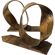 RARE Curtis Jere Gilded Ribbon Bookends, Signed and Dated '68