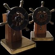 Vintage Bakelite Captain's Wheel Bookends, Walter Von Nessen for Chase, c. 1940s