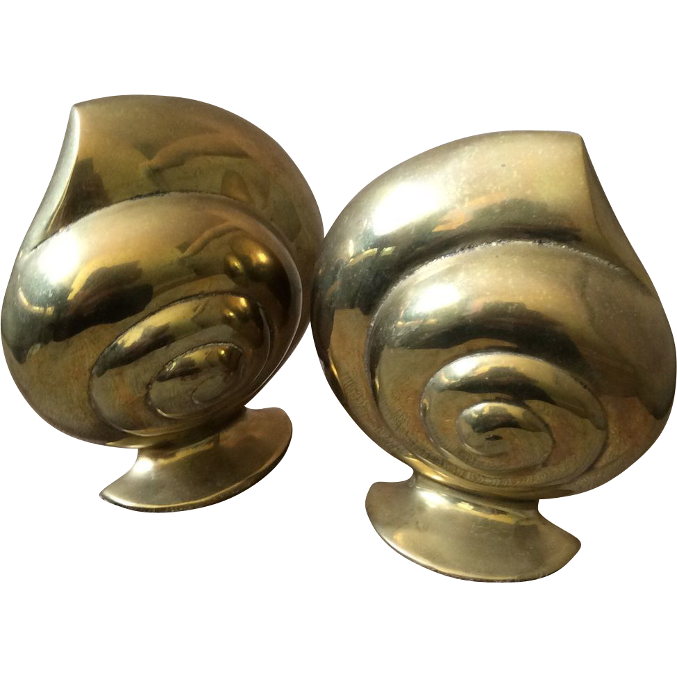 Vintage brass seashell bookends from archetypes on ruby lane - Antique brass bookends ...
