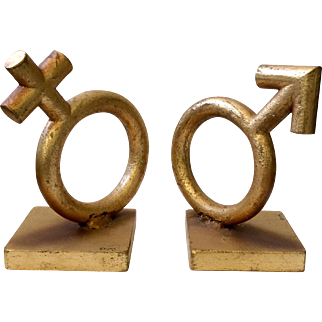 Iconic Curtis Jere MidCentury Gender Symbol Bookends, Signed 1969