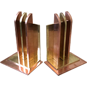 Chase Art Deco Copper and Brass Bookends, 1930s