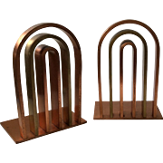 Chase Art Deco Copper and Brass Bookends, c. 1930