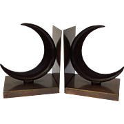 Art Deco Crescent Moon Bookends, Walter Von Nessen for Chase