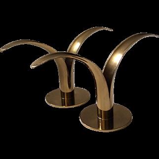 "Iconic Brass ""Swedish Lily"" Candleholders"
