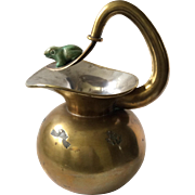Los Castillo Taxco Handwrought Mixed Metals Water Pitcher with Malachite Frog