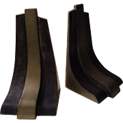 MidCentury Sculptural Brass Bookends, Esa Fedrigolli Design