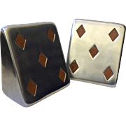 "Held for Linda Ben Seibel MidCentury ""5 of Diamonds"" Silver Bookends with Inset Teak for Jenfredware"