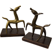 Charming MidCentury Figural Brass Dog Bookends