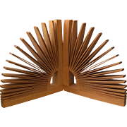 Sculptural Handcrafted Ash Wood Fan-Shaped Bookends