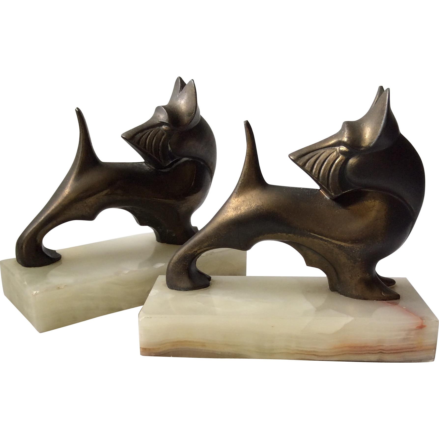 art deco brass scottish terrier dog bookends from archetypes on ruby lane. Black Bedroom Furniture Sets. Home Design Ideas