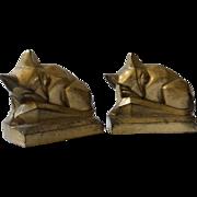 Art Deco Sculptural Cubist Sleeping Fox Figural Brass Bookends
