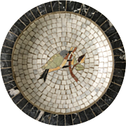 Denmark MidCentury Marble Mosaic Bowl with Bird