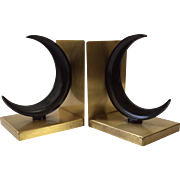 Art Deco Crescent Moon Bookends, Walter Von Nessen for Chase c. 1930s