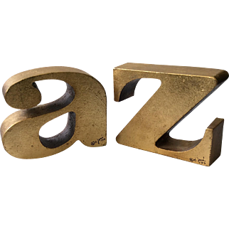 """RARE Signed C. Jere Iconic MidCentury """"a to z"""" Gilt Bookends, 1970"""