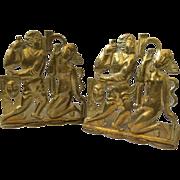 RARE Art Deco Werkstatte Hagenauer Wien Brass Figural Bookends, Karl Hagenauer c. 1920s
