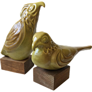 MidCentury California Pottery Large Bird Sculptures/Bookends by Jaru