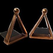 Ben Seibel MidCentury Copper Stirrup or Triangle Bookends for Jenfredware