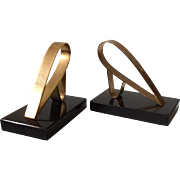 French Sculptural Modernist Brass and Marble Bookends, c. 1950s