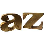 """Iconic C. Jere MidCentury """"a to z"""" Gilt Bookends, 1968"""