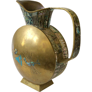 Taxco MidCentury Brass Pitcher with Turquoise and Abalone Flowers, Hummingbirds and Abalone Handle, Trim