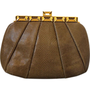 Judith Leiber Couture Snakeskin Bag with Tiger's Eye Stones, PRISTINE
