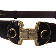 Judith Leiber Snakeskin Belt with Onyx