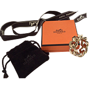 Hermes Scarf Ring with Hermes Suede Bag, Box and Logo Ribbon