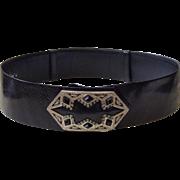Judith Leiber Wide Black Lizard Belt with Large Gemstone Buckle