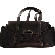 Large Tod's Chocolate Brown Suede and Leather Satchel