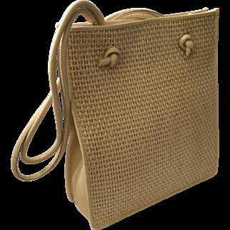 Bottega Veneta Woven Raffia and Leather Shoulderbag, EXCELLENT Condition