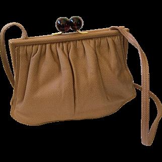 Bottega Veneta Soft Textured Leather Crossbody Bag with Tortoiseshell Lucite Clasp, MINT